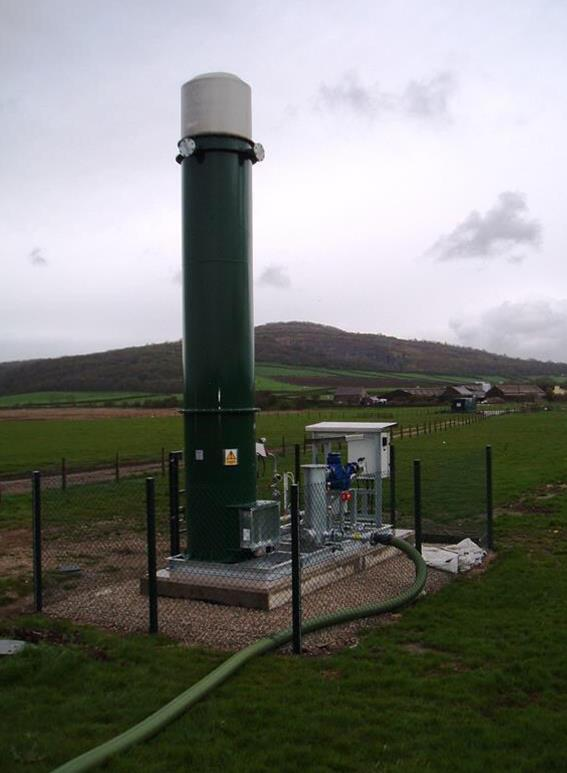 A shielded ground flare that will be used at fracking sites